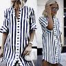 Women Horn Sleeve Striped Shirt Tops Loose Casual Mini Dress Long Blouse UK