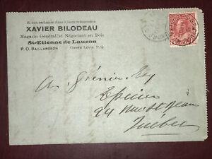 Rare 106b on 1912 Ad. enveloppe letterhead, St-Etienne to Québec, Levis RPO