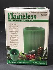 "Christmas Everlasting Flameless 4"" Pillar Candle LED Christmas Wreath Scent NEW"