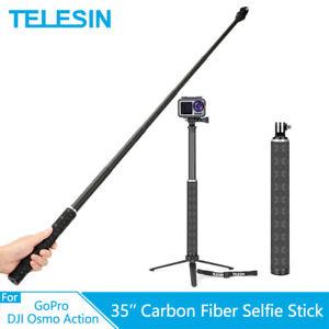 TELESIN 35'' Carbon Fiber Selfie Stick + Aluminium Tripod For GoPro Osmo Action