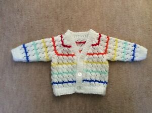 Rainbow Hand Knitted Baby Cardigan - Size 0-3 months