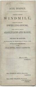 PARTICULARS OF SALE CAPITAL TOWER WINDMILL ACLE NORFOLK 1845