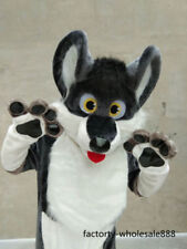 Fur Grey Dog Husky Mascot Costume Suits Adults size Animal outfiists party tty