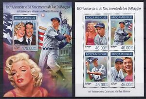 Mozambique 2014 Marilyn Monroe Joe DiMaggio Celebrities NY Flag stamps MNH**D10