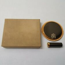 STUNNING VINTAGE BRASS AND ENAMEL VOGUE VANITIES LIPSTICK AND POWDER COMPACT SET