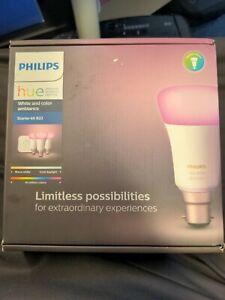 Philips Hue B22 White & Colour Ambiance Starter Kit 3 Pack LED Smart Bulb Bridge