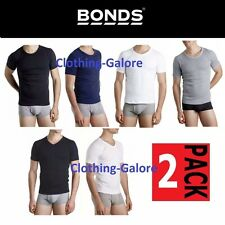 MENS BONDS COTTON RAGLAN 2 PACK CREW / V NECK T SHIRT TEE WHITE BLACK NAVY BLUE