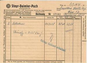 Rechnung 1942 / 57582: Steyr - Daimler - Puch AG.  Wien II. Rembrandstrasse 29