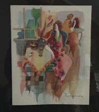 Original Watercolor by Tarkay  on Paper 7 1/2 by 9 1/2 COA Signed Bruria Tarkay