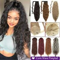 Afro Long Kinky Deep Wave Curly Ponytail Puff Drawstring Clip in Hair Extensions