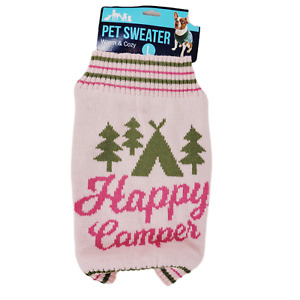 Happy Camper Cute Dog Sweater Large L Knit Pink Pet Clothing New