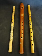 Old Vtg Wood Wooden LOT of (3) Flutes  Flute Musical Instrument Made In Japan