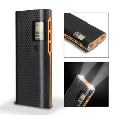 External 3usb LCD 50000mah Portable Battery Charger LED Power Bank for Iphone7 8 Black & Orange