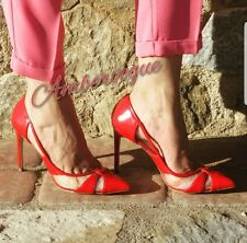 ZARA RED VINYL TRANSPARENT HIGH HEEL SHOES SIZE 5 EURO 38