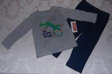 Boy 12 M Google Eyed Gecko Long Sleeve Shirt and Sweatpants Gray Navy NWT