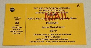 DEVO RARE 1980 FULL TICKET FOR 'FRIDAYS' TELEVISION SHOW TAPING