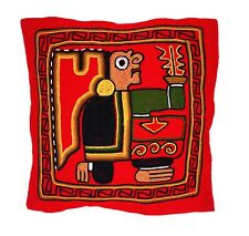 Cushion Cover Embroidered Hand Made Llama Wool Bolivia Tiwanaku Hobo Style