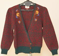 Susan Bristol Hand Embroidered Wool Sweater Burgundy Red Yellow Blue