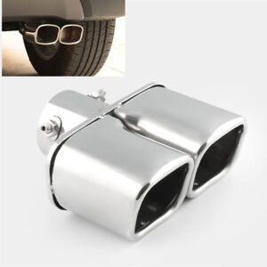 Dual Outlet Exhaust Muffler Tip Chrome Steel Compact Car Tail Pipe Cover 35-60mm