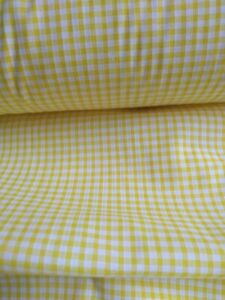 """YELLOW GINGHAM CHECK 1/8"""" cotton mix fabric sold/PER METRE/"""