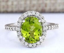 3.02 Carat Natural Peridot 14K White Gold Diamond Ring