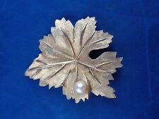 Vintage Signed CHAREL Gold Leaf Brooch Pin, with Real Cultured Pearl