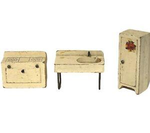 Lot of Vintage 1930/40s Miniature Wood & Metal Dollhouse Kitchen Furniture White