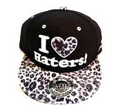 I love haters snapback caps, leopard flat peak baseball hats, hip hop, street