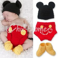 Mickey Mouse Costume Infant Baby Boy 6-12M Crochet Knit Xmas Outfit Photo Props