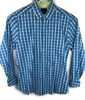 Tommy Bahama Men M Blue White Gingham Plaid Long Sleeve Shirt 100% Pima Cotton