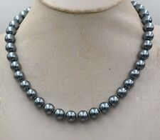 """NEW 8mm South Sea Dark gray Shell Pearl Necklace 18"""" crystal Clasp PN347"""