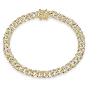 "14K Yellow Gold Diamond Pave Cuban Chain Link Bracelet Womens Natural Round 6.5"""