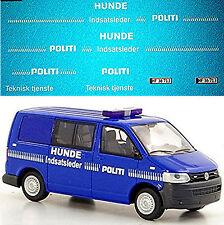 VW t5 politi Dinamarca perros temporada policía vehículos 1:43 decal estampado