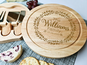 Personalised Cheese Serving Board Round, Christmas Gift, Wedding Gift