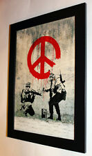 Banksy Soldiers framed 8X12 canvas print poster street art graffiti reproduction