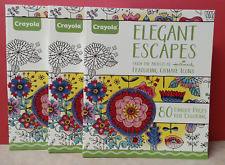 3  Crayola Elegant Escapes Adult 80 Page Coloring Books ~  Free Shipping