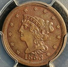 1853 1/2c Braided Hair Half Cent PCGS UNC coin Great Detail