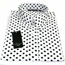 Relco London Polka Dot Shirt in White and Navy Size Medium