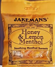 JAKEMANS  =  HONEY AND LEMON = SOOTHING MENTHOL SWEETS = 10 x 100g BAGS
