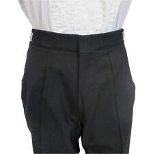 33-35 Regular Rise Adjustable Waist Black Wool Flat Front Wide Leg Tuxedo Pant