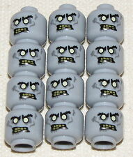 LEGO LOT OF 12 NEW BLUISH GREY ZOMBIE DRIVER MONSTER FIGHTERS HEADS FACES