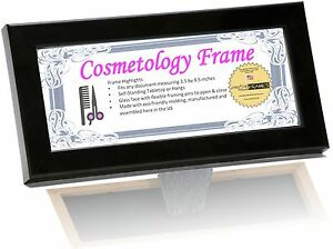 CPF Cosmetology Certificate License Frame Holds 3.5x8.5 w/ Glass, Stand & Hanger