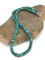 """Native American Turquoise 8 mm 20"""" Heishi Sterling Silver Bead Necklace 3286"""