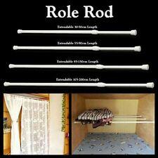 White Adjustable Tension Rod Clothes Rail Pole For Bathroom Bedroom Kitchen