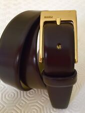 BRUNO MAGLI BROWN LEATHER BELT SIZE 34 Solid brass buckle  Made In Italy