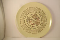 Vintage 1961 Calendar Plate Unmarked Yellow Gold Windmills Ships