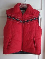 Vintage Little Lisa Puffer Quilted Winter Vest Argyle Knit Yolk Girls Youth M