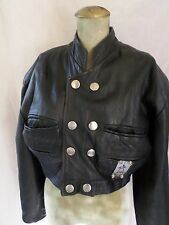HI TEK Alexander true vintage 80s black leather cropped jacket MEDIUM