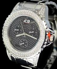 50mm Silver Tone Simulated Diamond Metal Band Bling Hip Hop Quartz Watch