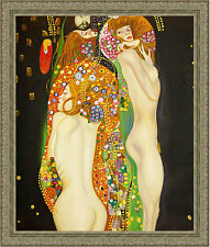 Water Serpents by Gustav Klimt 85cm x 72.5cm Framed Ornate Silver